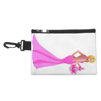 Blonde hair fashion model with pink dress and flow accessory bag