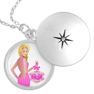 Blonde hair fashion model with pink dress and flow round locket necklace