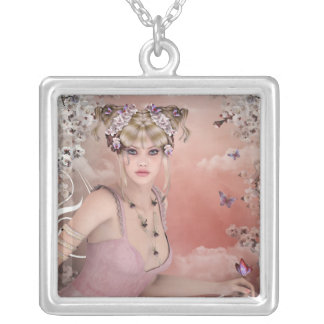 Blonde Hair girl with butterfly in pink dress Square Pendant Necklace