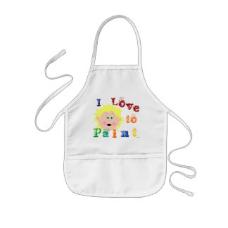 Blonde Hair Green Eyed Little Girl Painting Kids' Apron