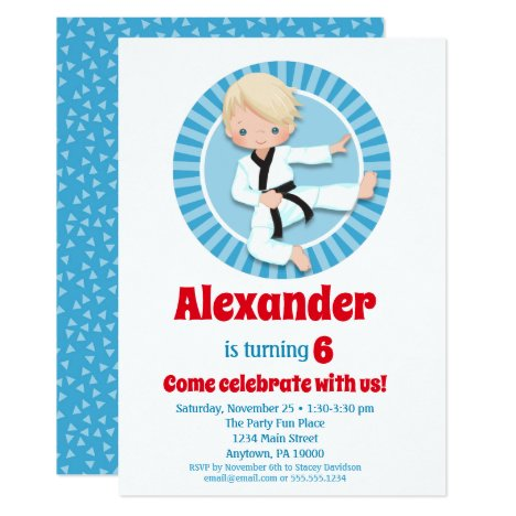 Blonde Hair Karate Judo Boys Birthday Invitation