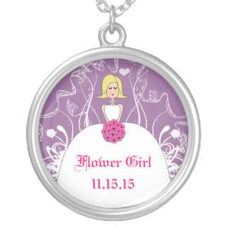 Blonde Hair Lavender Wedding Flower Girl Necklace