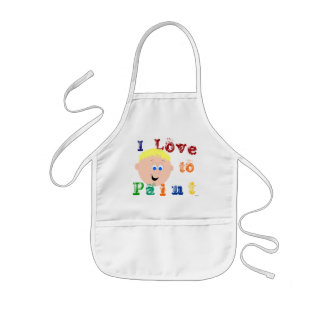 Blonde Hair Little Boys Painting Kids' Apron