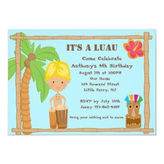 Blonde Haired Aloha Luau Birthday Invitation