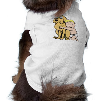 blonde haired boy with big dog T-Shirt