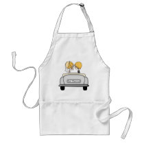 Blonde Haired Bride & Blonde Groom in Grey Car Adult Apron