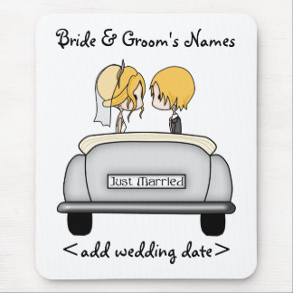 Blonde Haired Bride & Blonde Groom in Grey Car Mouse Pad