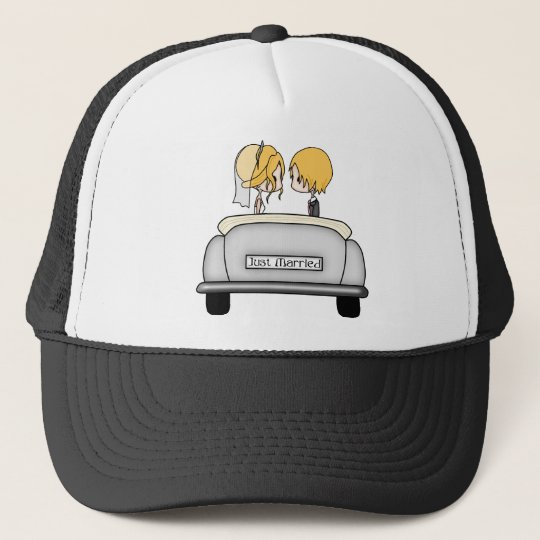 Blonde Haired Bride & Blonde Groom in Grey Car Trucker Hat