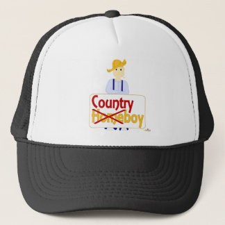Blonde Haired Frowning Farmie Blue Pants Country X Trucker Hat