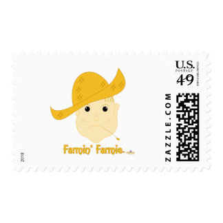 Blonde Haired Frowning Farmie Face Farmin Farmie Stamps