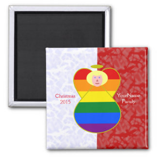 Blonde-haired Gay Pride Angel Flag Red White 2 Inch Square Magnet