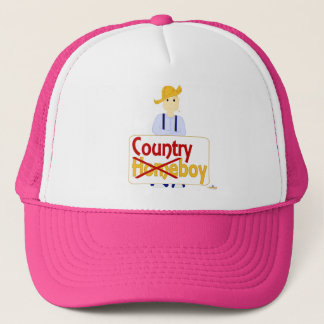 Blonde Haired Grinning Farmie Blue Pants Country X Trucker Hat