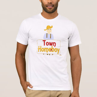 Blonde Haired Grinning Farmie Brown Pants HomeTown T-Shirt