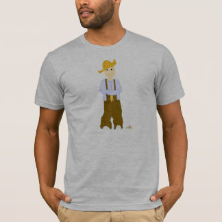 Blonde Haired Grinning Farmie Brown Pants T-Shirt