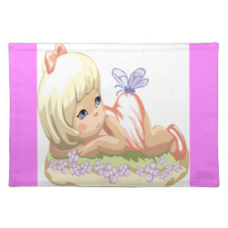 Blonde Haired Little Girl Cloth Placemat