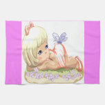 Blonde Haired Little Girl Hand Towels