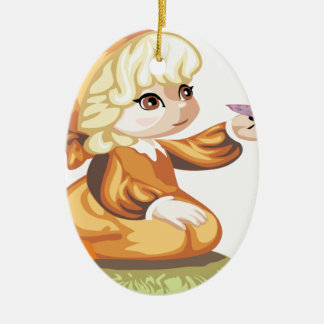 Blonde haired little girl christmas ornaments