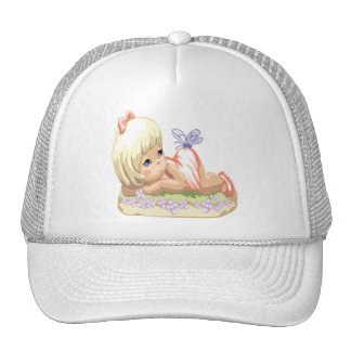 Blonde Haired Little Girl Trucker Hat
