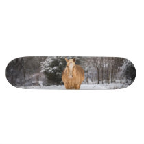 Blonde Horse Walk In The Snow Skateboard