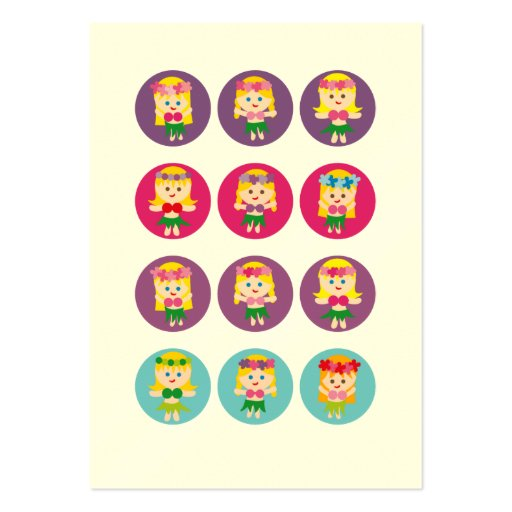 Blonde Hula Girl Large Business Cards (Pack Of 100)