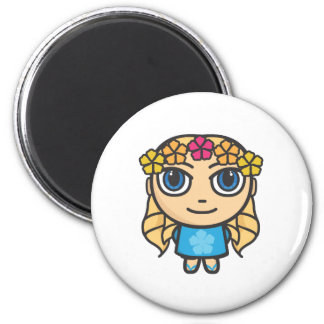Blonde Hula Girl in Blue with Blue Eyes Magnet