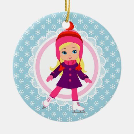 Blonde Ice Skater - Winter Sports Skating Ceramic Ornament