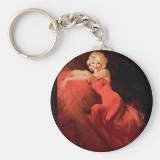 Blonde in Red Dress Pin Up Art Basic Round Button Keychain