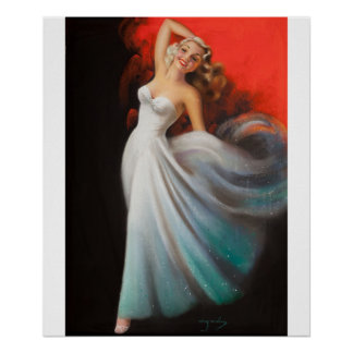 Blonde in White Dress Pin Up Art Poster