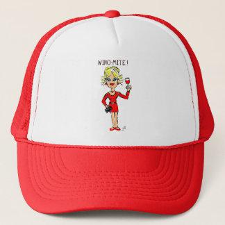 """BLONDE JILLIE: """"WINO-MITE"""" CARTOON PRINT TRUCKER HAT"""