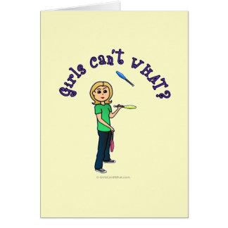 Blonde Juggler Greeting Cards