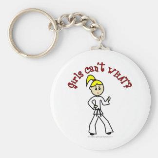 Blonde Karate Girl Basic Round Button Keychain