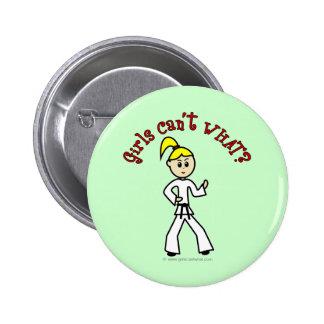Blonde Karate Girl Pinback Button