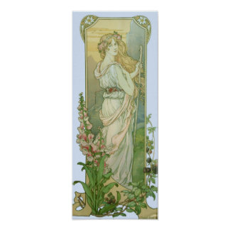 Blonde Lady in White Poster
