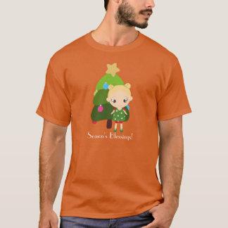 Blonde Little Girl Chritmas Tree T-Shirt