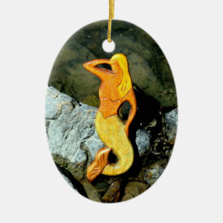blonde lookout mermaid Double-Sided oval ceramic christmas ornament