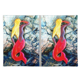 blonde lookout mermaids in redtails cloth place mat