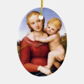 Blonde Madonna and Baby Jesus Ceramic Ornament