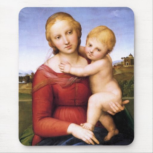 Blonde Madonna and Baby Jesus Mouse Pad