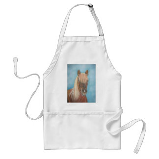 blonde mane chestnut horse portrait equine art apron