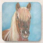 blonde mane chestnut horse portrait equine art drink coaster
