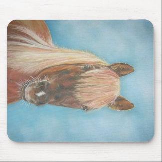 blonde mane chestnut horse portrait equine art mouse pad
