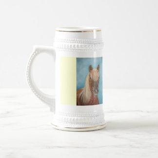 blonde mane chestnut horse portrait equine art 18 oz beer stein