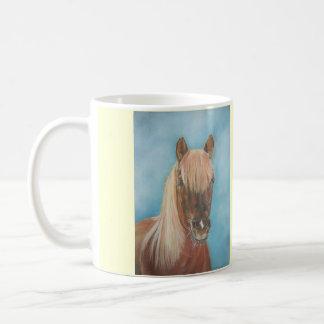 blonde mane chestnut horse portrait equine art classic white coffee mug