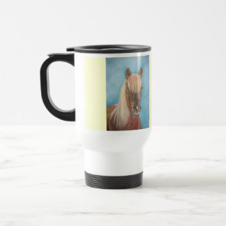 blonde mane chestnut horse portrait equine art 15 oz stainless steel travel mug