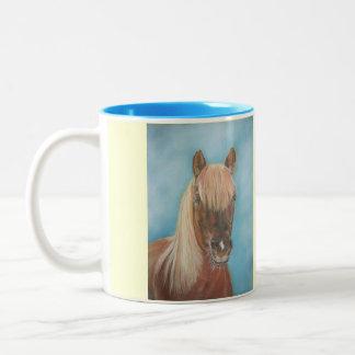 blonde mane chestnut horse portrait equine art Two-Tone coffee mug
