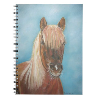 blonde mane chestnut horse portrait equine art spiral notebook
