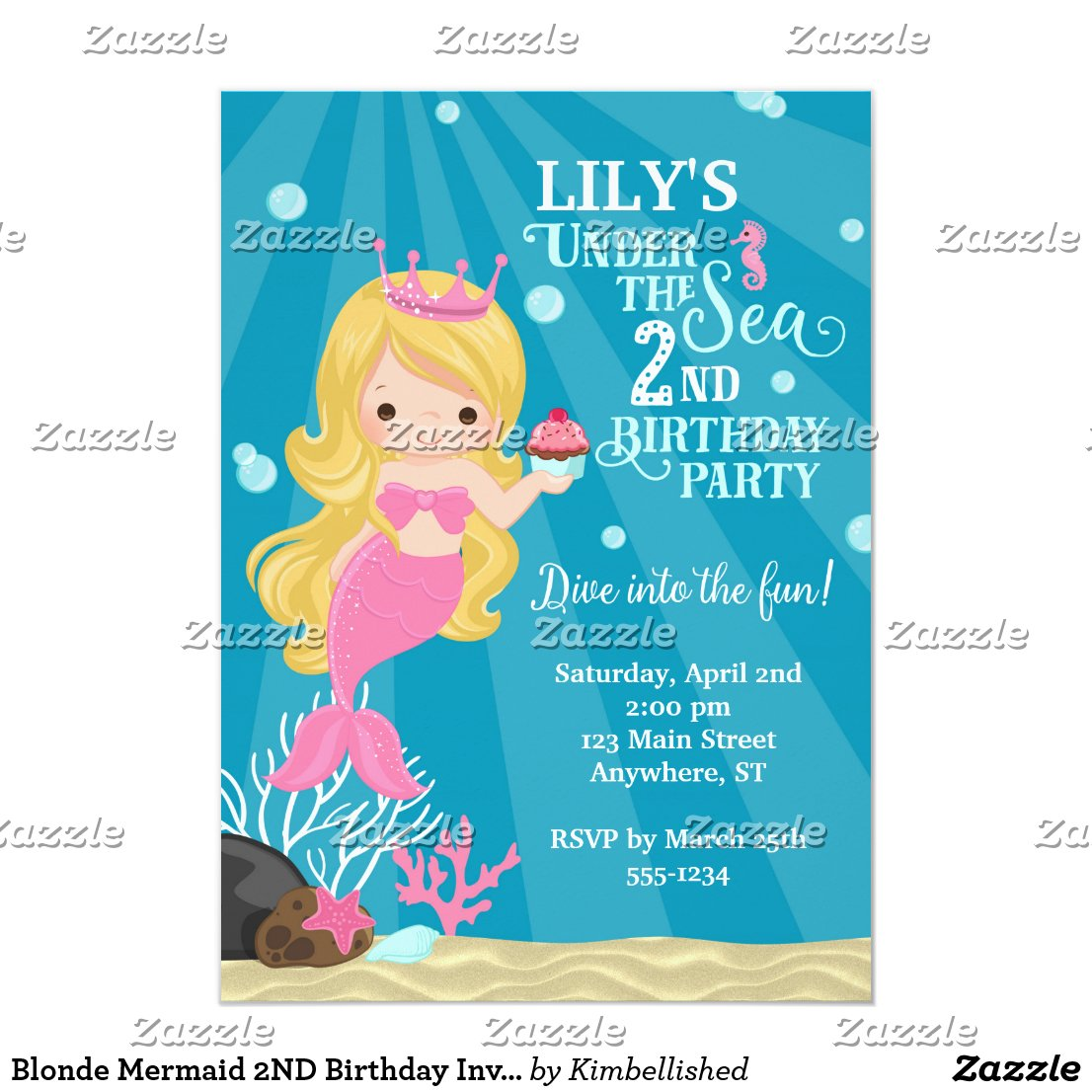 Blonde Mermaid 2ND Birthday Invitation