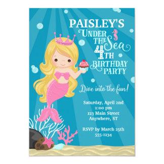 Blonde Mermaid 4TH Birthday Invitation