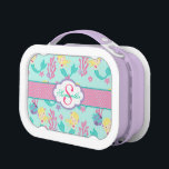"""Blonde Mermaid and Monogram Lunch Box<br><div class=""""desc"""">Sweet blonde haired mermaid and coral reef with polka dot trim and monogram lunch box.</div>"""