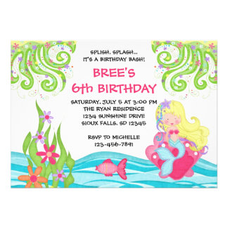 Blonde Mermaid Birthday Invitations